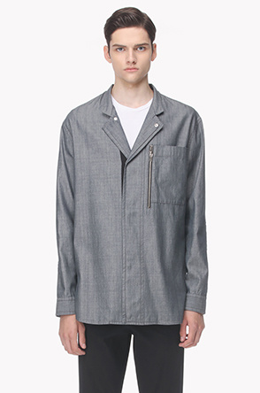 Zipper line cotton shirt jacket
