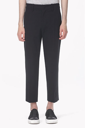 Side zipper waist stretch pants