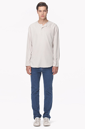 Unbalanced henley neck shirt