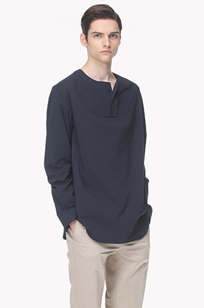 Hidden henley neck collarless shirt