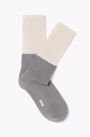 Color rib block socks
