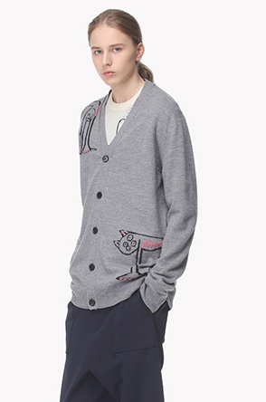 [Collaboration] Stitch jacquard wool knit cardigan