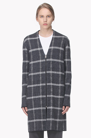 Wool check pattern long knit cardigan