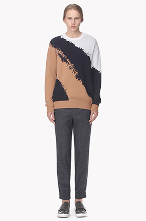 Color jacquard knit sweater