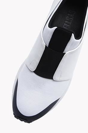 Material mix paneled sneakers