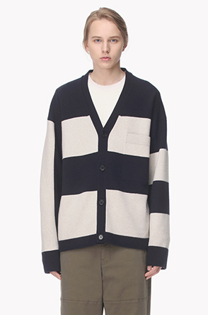 Wide stripe lambs wool cashmere knit cardigan