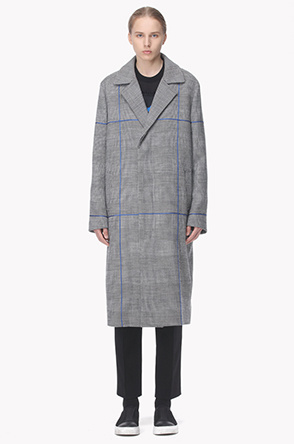 Color line hidden button long check jacket