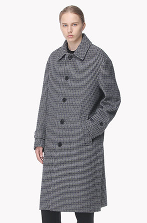 Lambs wool blend single check coat