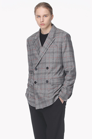 Wool blend double button jacket