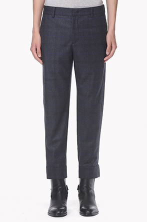 Wool blend line layered turn up pants