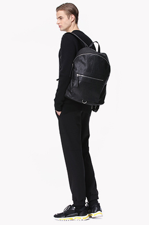 Lamb leather flap backpack