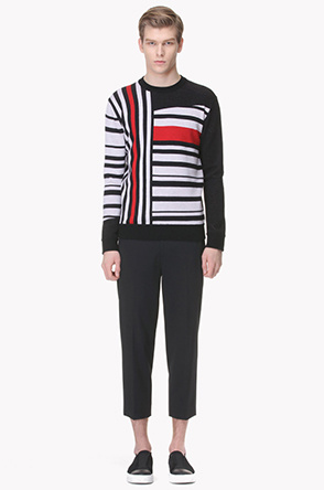 Stripe point color knit sweater