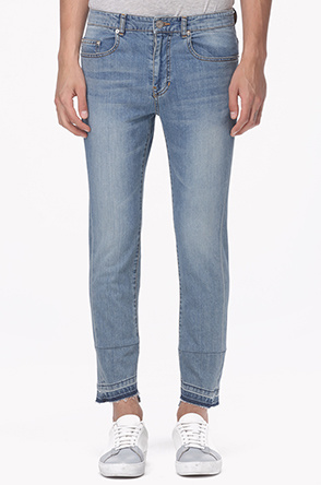 Stitch block hem washing jeans
