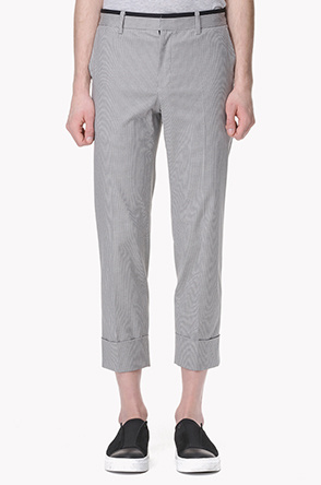 Houndstooth check turn up pants