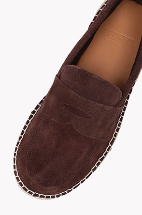 Suede espadrille loafers