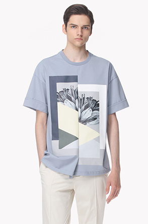 Half and half printed T shirt