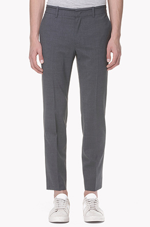 Piping beltline wool blend pants