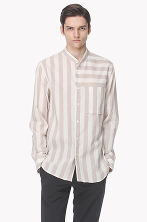 Stripe linen blend pocket shirt