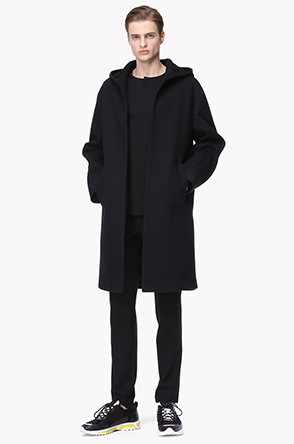 Grainy texture hood coat