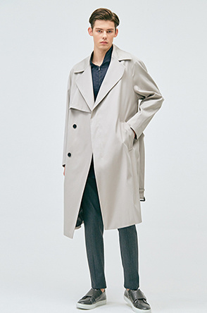 Flap detailed strap trench coat