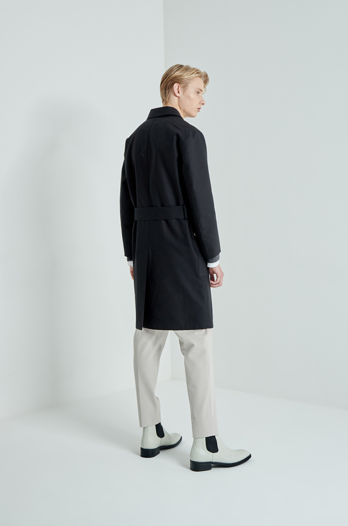 Belted pocket trench coat