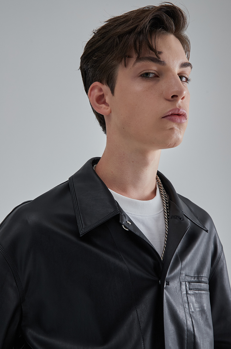 Artwork patch leather shirt