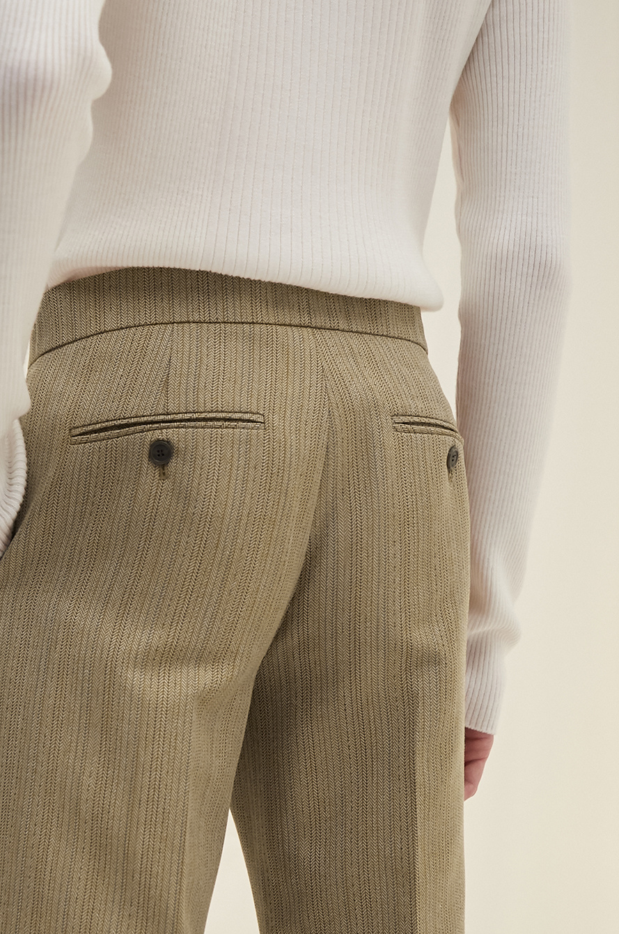 Herringbone straight pants