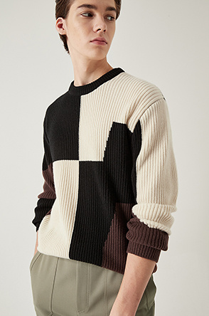 Color block rib knit sweater