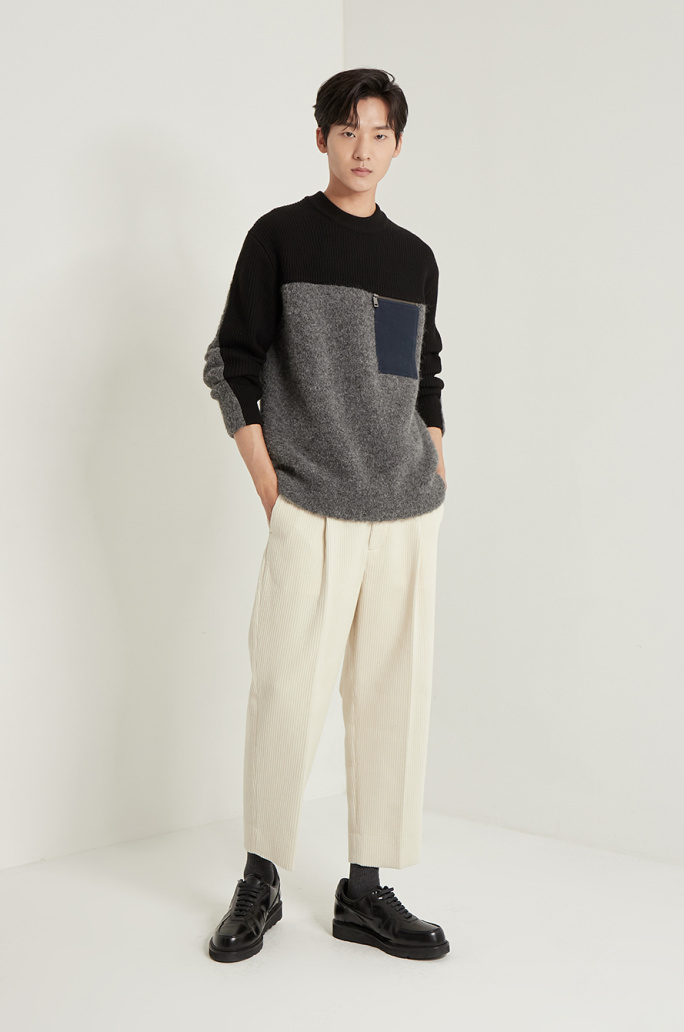Texture block knit sweater