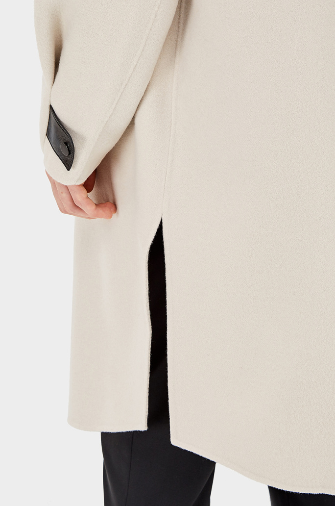 Leather strap high neck wool coat