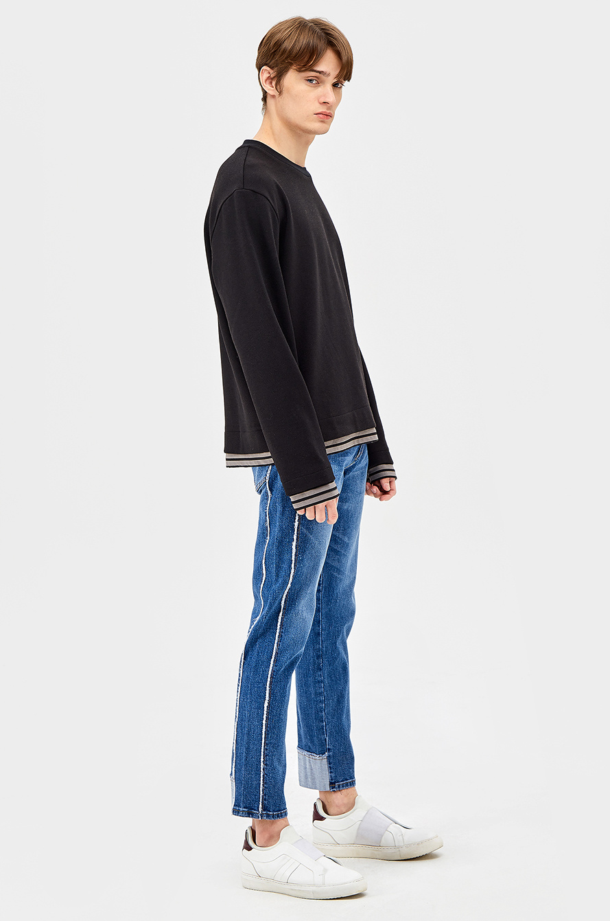 Fringe line skinny denim pants