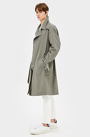 Metal button double trench coat