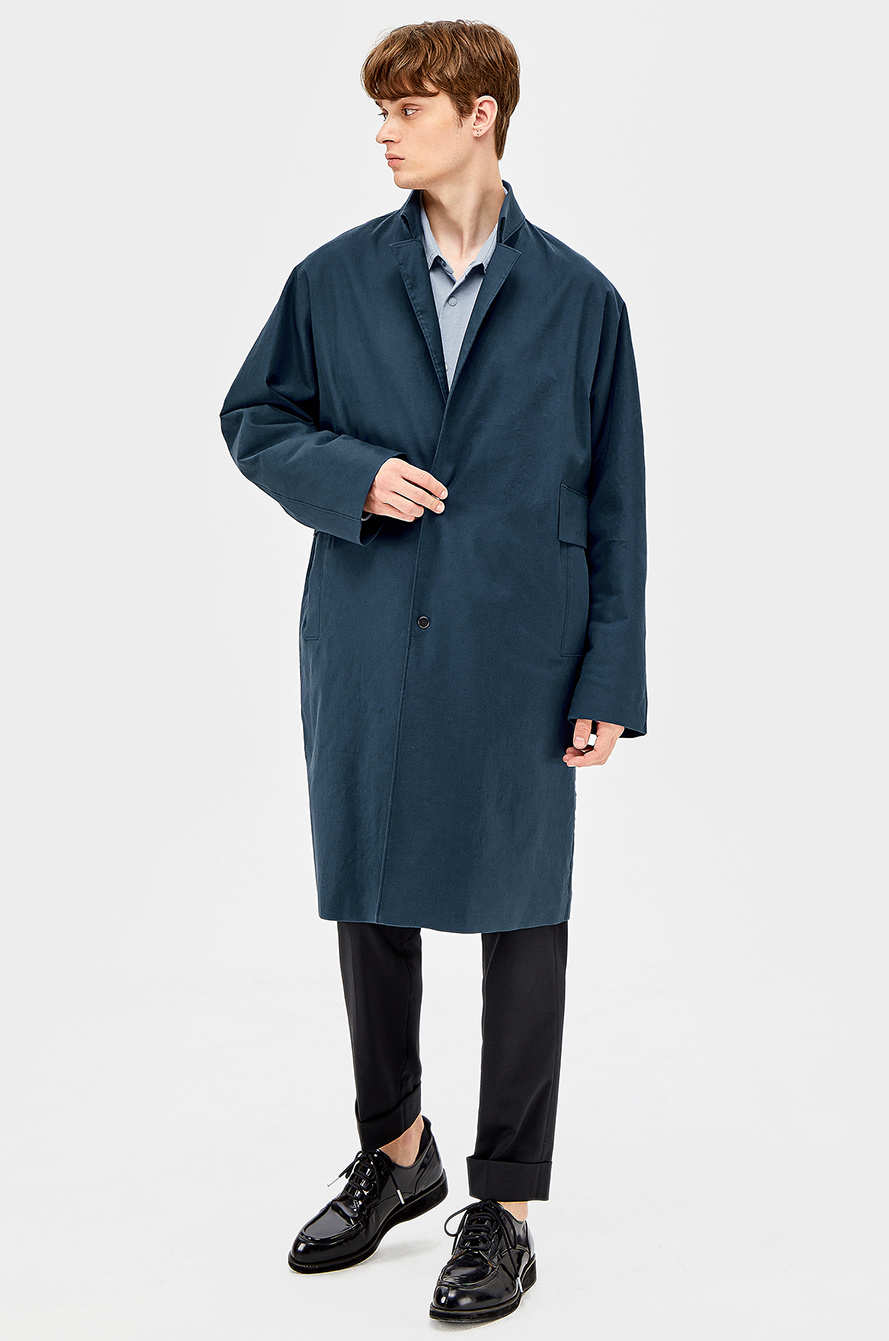 Panel point blend linen trench coat