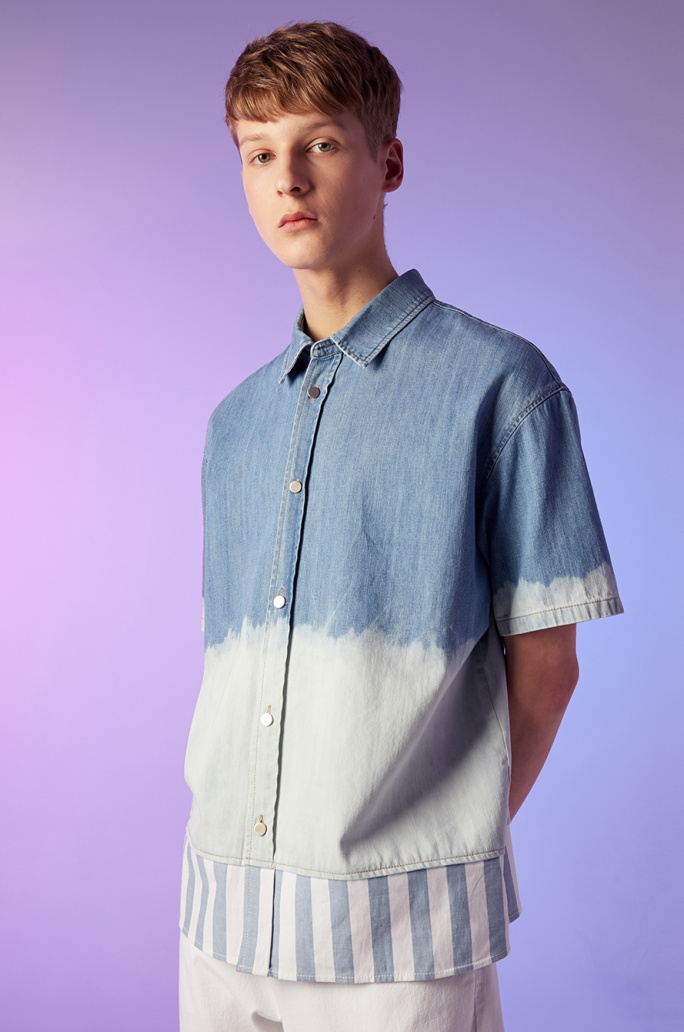 Bloc hem washed denim shirt