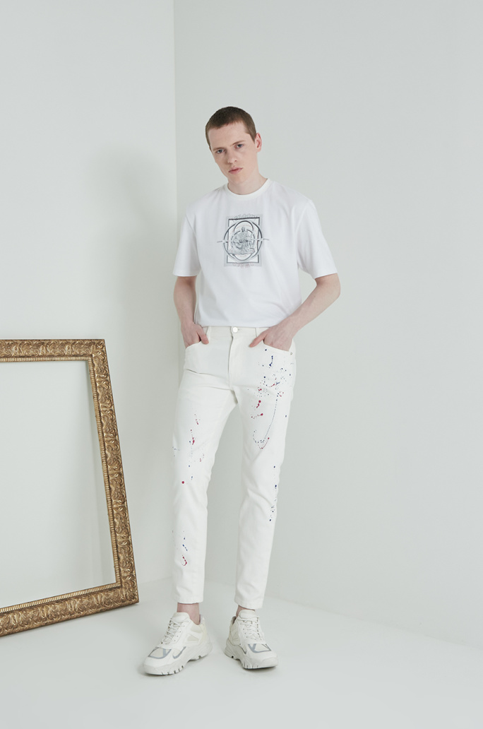Paint print denim pants