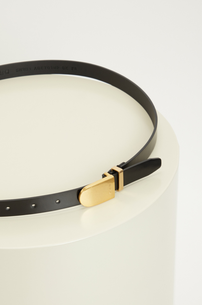 Bold buckle leather belt