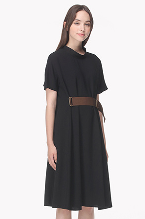 Buckle belted flare dress