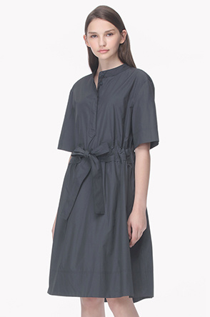 Ribbon belted light shirt dress
