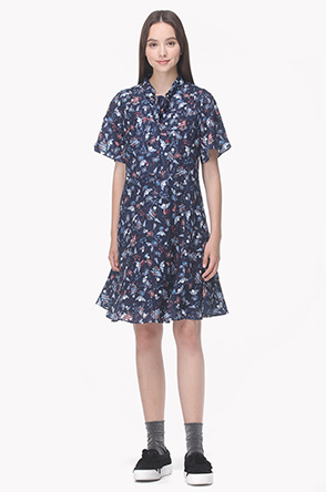 Strap stand collar printed dress