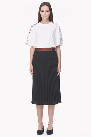 Color strap waist pleat skirt