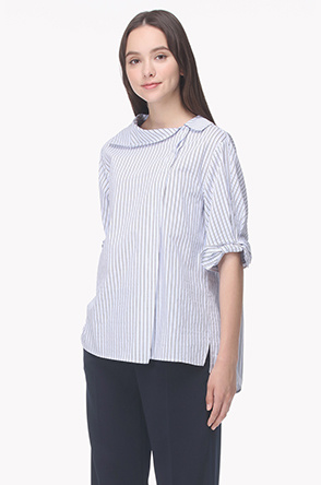 Flat collar ribbon cuffs shirt