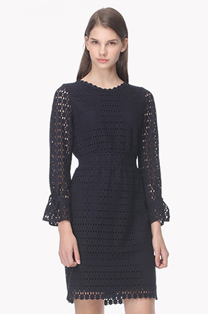 Pattern eyelet cotton dress