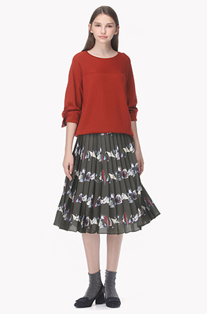 Banded waist print pleat skirt