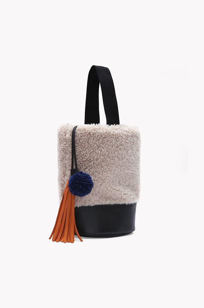 Faux fur pom pom fringe bucket bag