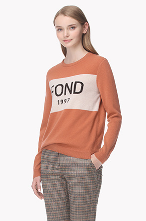 [20th] Color line lettering knit sweater