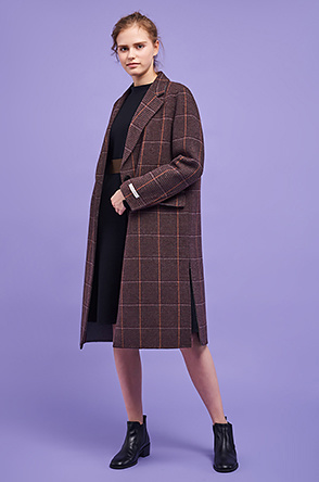[20th] Wool blend sleeve tag check coat