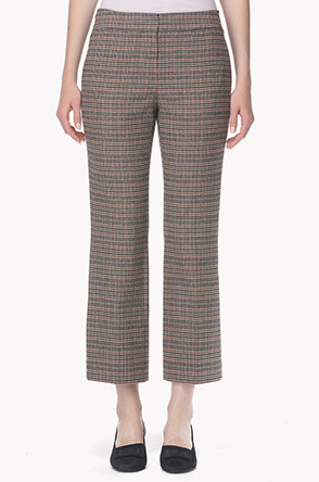 [20th] Front hidden button check straight pants