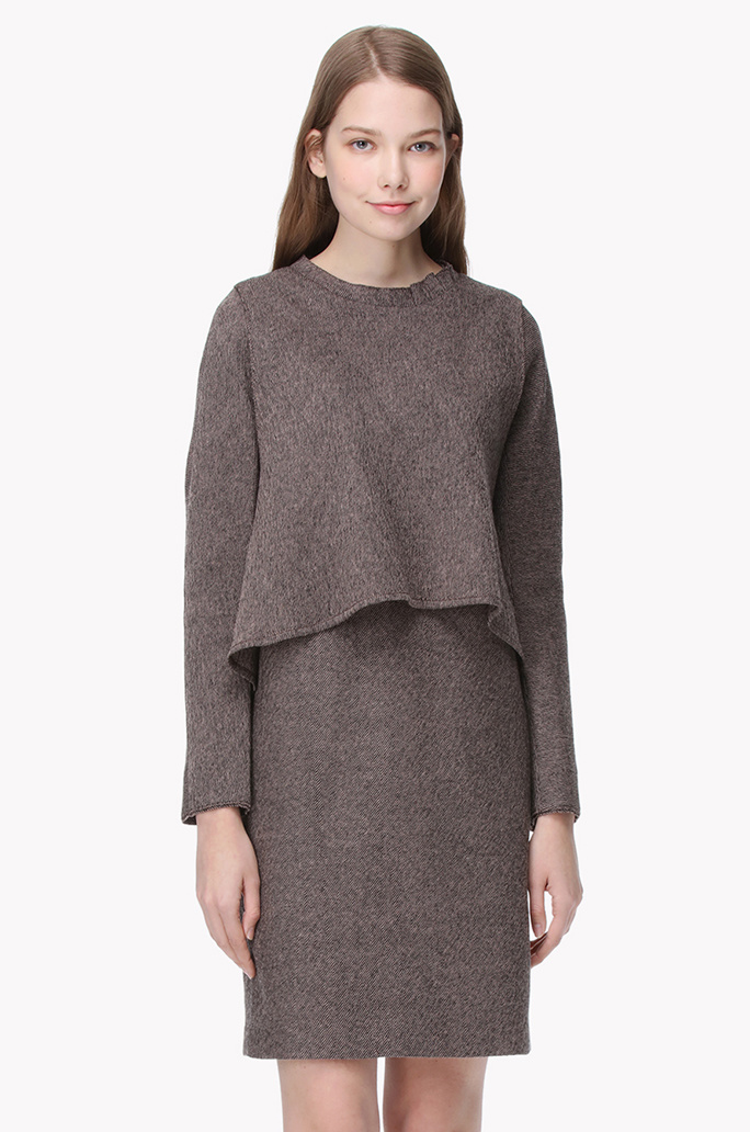 Front layered frill neck wool dress