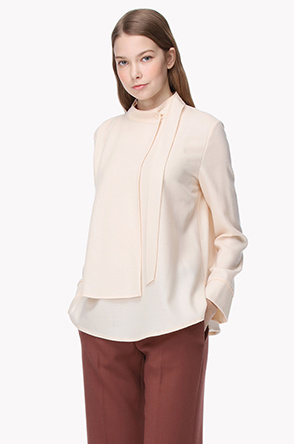 Stand collar layered and strap blouse
