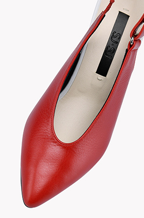 Round topline sling back pumps